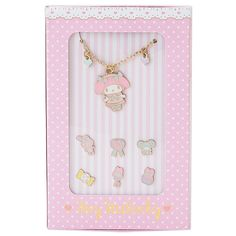 My Melody Necklace & 6 Pierced Earrings Accessary Set All Dressed Up SANRIO JAPAN