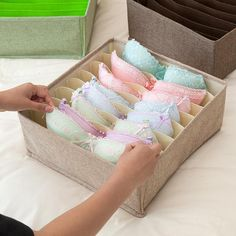 Foldable Socks Bras Underwear Organizer Box is part of Underwear organization 12 x Organizer Box Kindly Tip Please allow error due to manual measurement - Bathroom Drawer Organization, Underwear Organization, Bathroom Drawers, Home Organisation, Dresser Drawers, Closet Organization, Organizing Drawers, Diy Drawer Dividers, Dorm Bathroom