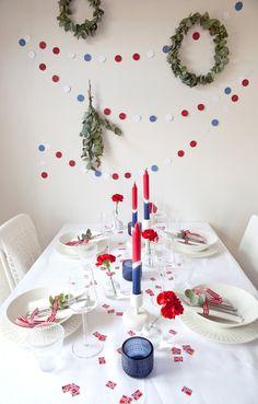 DIY: Lag en festlig og fargerik girlander til mai! Norwegian Flag, Norwegian Christmas, Danish Christmas, Flag Garland, Diy Garland, Constitution Day, Holiday Crafts, Holiday Decor, Party Entertainment