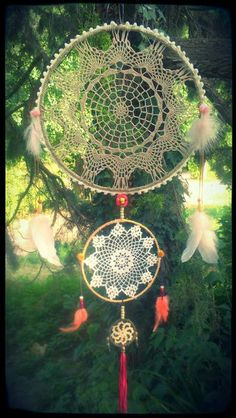 doily dream catcher - use my wooden embroidery hoops collected for a dime or a quarter each from Goodwill & yard sales