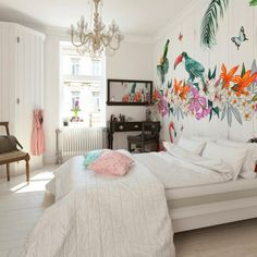 Birds of Paradise Wallpaper Wall Mural by Ohpopsi, Birds of Paradise Feature Wallpaper Birds of Paradise is a bright & beautiful Tropical wallpaper including Tucans, Pink Flamingos & Tropical Birds & flowers Paradise Wallpaper, Tropical Wallpaper, Feature Wallpaper, Wall Wallpaper, Photo Wallpaper, Bedroom Wallpaper, Wallpaper Roll, Girls Bedroom, Bedroom Decor