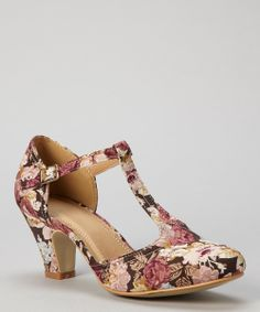 Rose Pink Floral Mina T-Strap Pump I don't usually like heels, but these are soooo cute!
