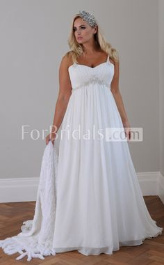 Sexy Straps Sweep Train Sleeveless Lace-up Chiffon A-line Wedding Dresses(FWD0148)