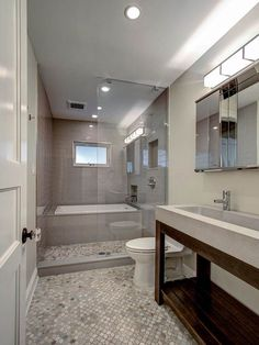 guest bathroom with tub enclosed within glassed in shower space brownstone renovation in park slope brooklyn