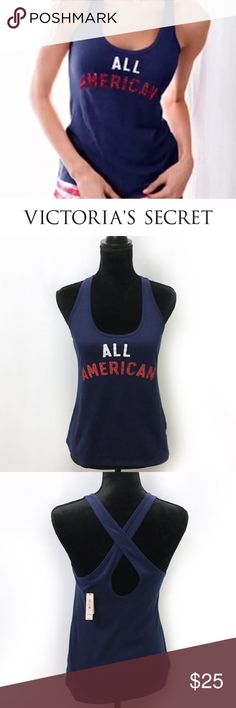 NEW Victoria's Secret Blue All American Tank Top BRAND NEW WITH TAGS soft Blue tank top from Victoria's Secret. Cross back feature with glitter red graphics. Great for Summer fun and 4th of July! Victoria's Secret Tops Tank Tops