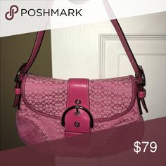⬇️Coach Mini Signature Soho Small Flap- Pink 6818 Great condition with some faint smudges on the suede in back.                                         Nickel silver tone hardware ·         Large buckle design in front and magnetic snap closure ·         One large interior open pocket ·         1 Interior side zip pocket ·         2 Interior organizer pockets ·         Pink Coach Signature jacquard fabric ·         Pink suede trim ·         Embossed Coach hang tag Height from opening- 6.5…