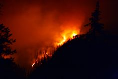 Rainbow Bridge Fire at night, North Cascades National Park, Washington (pinned by haw-creek.com)