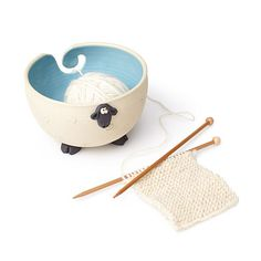 From plush wool yarn to this charming sheep bowl, your crafty creations come full circle in this knitting accessory.