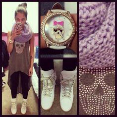 Margiela sneakers, lilac scarf