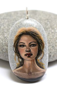 Original miniature acrylic painting on stone pendant as unique art jewellery. Painted stone by Magics of Creation on Etsy