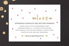 """Crazy in Love"" - Whimsical & Funny Engagement Party Invitations in Hot Pink by Rebecca Bowen."