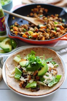 Chicken, Black Bean and Sweet Potato Tacos