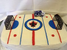 Hockey birthday cake More Hockey Birthday Cake, Birthday Cake Kids Boys, Hockey Birthday Parties, 6th Birthday Cakes, Hockey Party, Sports Party, Birthday Stuff, 4th Birthday, It's Your Birthday