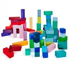 Grimms 100-Count 4x4 Building Set Pyramid Bold, bright colors are the building blocks of imagination. This 100-piece set encourages children to assemble towering skyscrapers or quaint villages. Whimsical castles and landscapes alike arise from these wooden blocks, crafted from lime wood and non-toxic paints. Made in Germany.