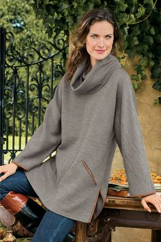 Cotswold Pullover - Heavenly soft with a trendy microsuede trim | Soft Surroundings