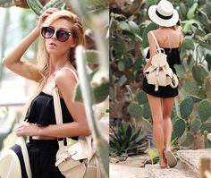 Choies Backpack, Parfois Hat, Zara Frill Top, Stradivarius Shorts, Oysho Bio Sandals Tudo muito perfeito