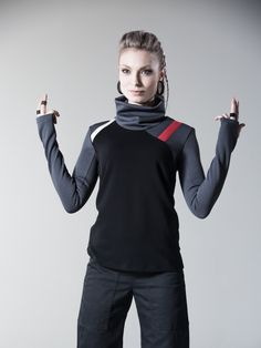 Cyberpunk sweater sci fi pullover long sleeves thumb holes - 7N woman by ZOLNAR on Etsy