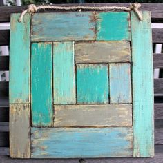 Rustic Green Abstract Wood Painting  15.5 x 15.5 by DIABLOWILLIS