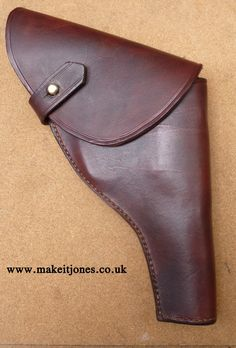 """Custom leather Sam Browne holster for 4"""" barrel .38 Webley Mk IV.   Hand made to order in the UK from makeitjones Custom Holsters, Leather Holster, Indiana Jones, Custom Leather, Firearms, Barrel, Sunglasses Case, Cosplay, Wallet"""