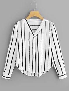 Shop Plus Striped V-Neck Blouse online. SHEIN offers Plus Striped V-Neck Blouse & more to fit your fashionable needs. Ropa Semi Formal, Asymmetrical Tops, Stripes Fashion, V Neck Blouse, Plus Size Blouses, Blouses For Women, Casual Tops For Women, Women's Blouses, Men Casual
