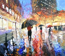 Rain in city - Art gallery OIL PALETTE KNIFE Painting on canvas by Dmitry Spiros. 32x24 in. 80 x 60 cm