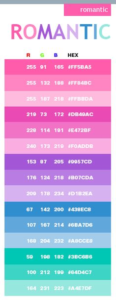 Romantic color schemes, color combinations, color palettes for print (CMYK) and Web (RGB + HTML)