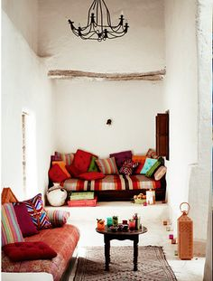 Morocco style room with beautiful color and pattern accents.