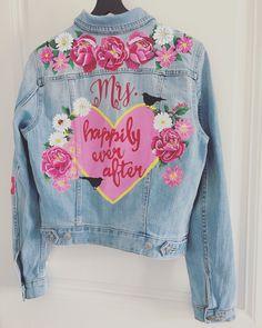 Handpainted bride denim jacket by Troubelle. Wedding Jacket, Vintage Denim, Happily Ever After, Custom Made, Custom Design, Cool Designs, Hand Painted, Bride, Jackets