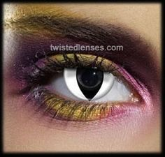 White Cat Eye contact lenses - cool and scary