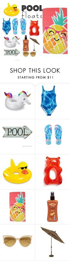 """""""Pool floats"""" by buttercreamkisses ❤ liked on Polyvore featuring interior, interiors, interior design, home, home decor, interior decorating, Lilly Pulitzer, Big Mouth, Evergreen and Hawaiian Tropic"""