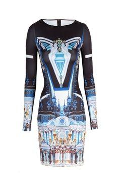 Oxygen | Clover Canyon Crystal Palace Dress Multi Neoprene Dress