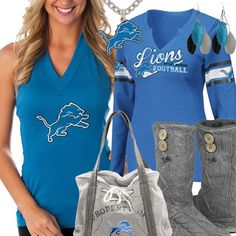 Shop for everything from Detroit Lions sweatshirts, to fashionable team logo t-shirts, and all kinds of fan gear like Detroit Lions jerseys and jewelry. Lions Team, Detroit Lions Football, Football Girls, Football Gear, Detroit Lions Sweatshirt, Fan Gear, What To Wear, Personal Style, Clothes For Women
