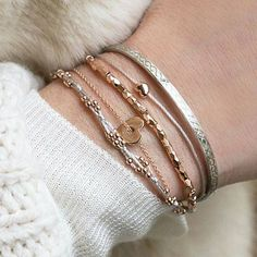Todays combination: dainty and full of L❤VE ! #bracelets #amour #valentine…