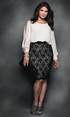 27d454510f5 lace skirt by Elloqui and a split sleeve billowy white blouse. - modeled by  Tara Lynn. Mildred Tiger-Johnson · Plus size fashion