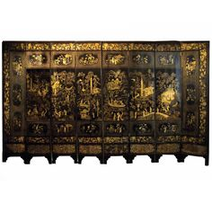 Chiense Lacquer Eight Panel Screen