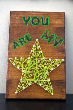 Wood Sign String Art: You Are My Star #stringart #ad #wallart #walldecor #homedecor #kidsroom #birthdaygifts #graduationgift #giftideas #star
