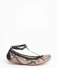 Yosi Samra : beige and black snake embossed leather stretch 'Erica' t-strap flats | $40