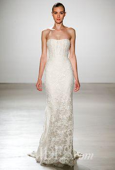 A lacy @amsale wedding dress with a corset bodice | Brides.com