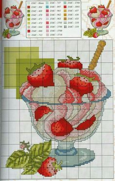 Large collection of free Cross Stitch Patterns and Charts: Cross-stitch patterns, sweets, cakes and pies Counted Cross Stitch Patterns, Cross Stitch Charts, Cross Stitch Designs, Cross Stitch Embroidery, Embroidery Patterns, Hand Embroidery, Cupcake Cross Stitch, Cross Stitch Fruit, Cross Stitch Kitchen