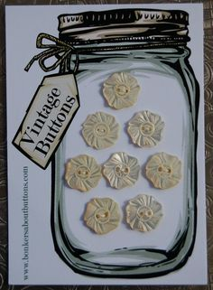 Vintage pearl sewing Button display board