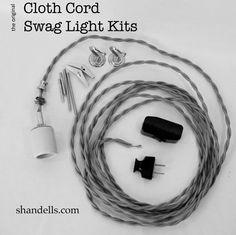 DIY swag kits made of beautiful cloth cord, from Shandell's - Retro Renovation Swag Pendant Light, Swag Light, Pendant Light Fixtures, Pendant Lighting, Pendant Lamps, Diy Light, Industrial Lighting, Light Bulb