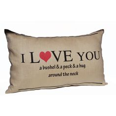 Throw Pillow Cover I Love You a Bushel and a Peck Decorative Linen... (1,710 INR) via Polyvore featuring home, home decor, throw pillows, black, decorative pillows, home & living, home décor, black throw pillows, linen throw pillows and black home decor