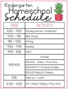 our homeschool schedule   preschool, kindergarten, 2nd grade - Fueling Mamahood