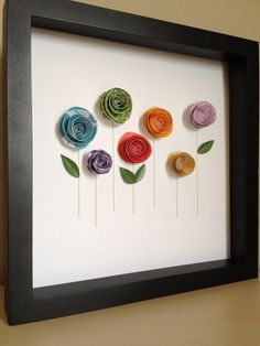 Nursery Decor/Art: Colorful Paper Rose Garden 3D Paper Art Customized by PaperLine at Etsy.com, $35.00