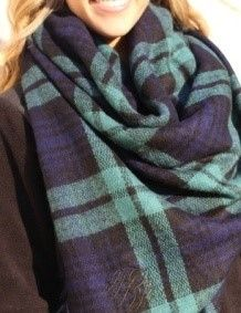 Navy Green Plaid Blanket Scarf Monogram from The Preppy Pair.   http://www.thepreppypair.com/Navy-Green-Plaid-Blanket-Scarf_p_409.html