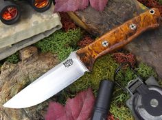 "Bravo 1 3V LT. This is the thinner version of the Bravo 1 (.156"" thick) in CPM 3V steel. Pictured in desert ironwood burl with mosaic pins.  #brkt #barkriverknives #fixedblade #knives #knife #knifestagram #knifeporn #knifefanatics #knifecommunity #knifenut"