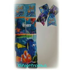 Finding Dory socks and bow set by Blingonthebows.com #findingdory #nemo #blingonthebows #cheerbows F.B. Www.facebook.com/blingonthebows come on over and like my page to stay up to date on new items.
