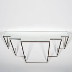 Contemporary glass mirror wall console at Casati Gallery designed by Jonathan Nesci at design and furniture gallery Casati Gallery