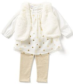 Starting Out Baby Girls 324 Months 3Piece FauxFur Vest Metallic Dotted Chiffon Top and Leggings Set #Dillards