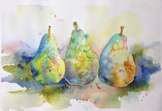 """RAINBOW PEARS"" - Original Watercolor Painting   7.5 x 11 - By: Doreen Koch Allen - AquaLumenStudio, $70.00"